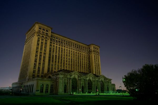 Photo of the abandoned Michigan Central Station in Detroit, MI