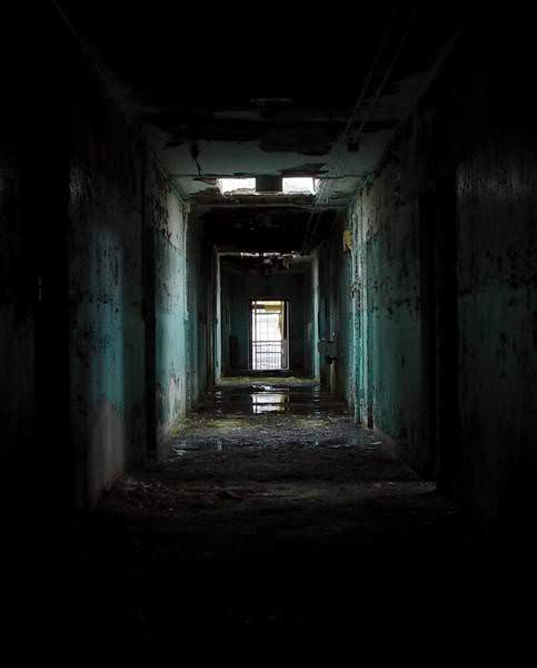 Dark Hallway - Photo of the Abandoned Foxboro State Hospital