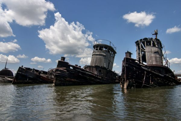 Lined Up; Staten Island Boat Graveyard